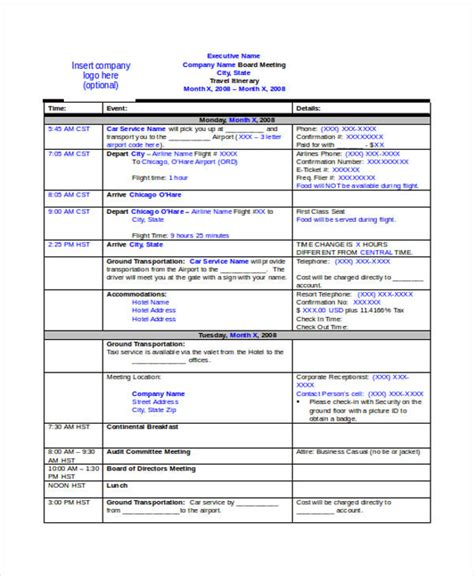 template travel itinerary 9 travel itinerary templates free word pdf format