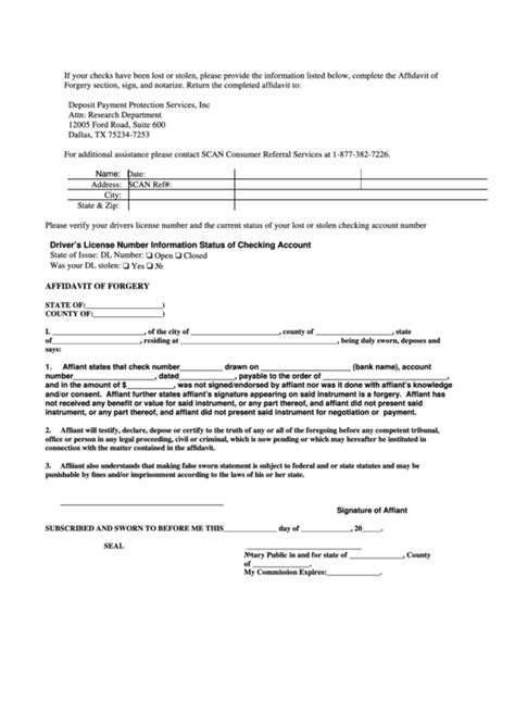 Dpps Check Forgery Affidavit Form Printable Pdf Download Affidavit Of Forgery Template