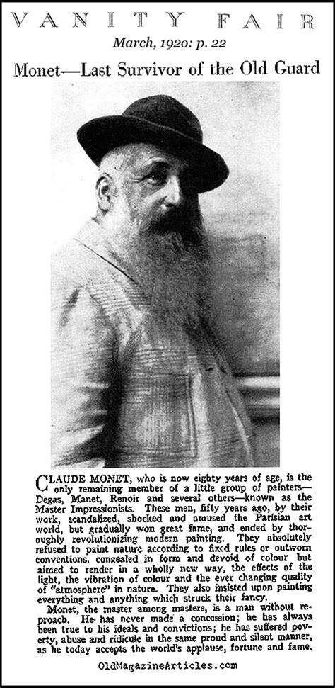 Vanity Fair Articles by Claude Monet 80 Years Article And Photo 1920 Claude