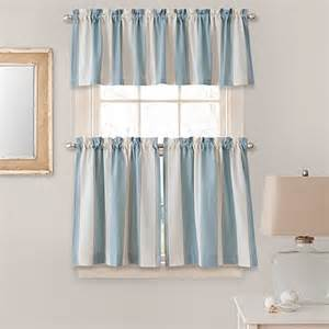 Blue Kitchen Curtains Stripe Window Curtain Tier Pairs And Valances In Blue Bed Bath Beyond