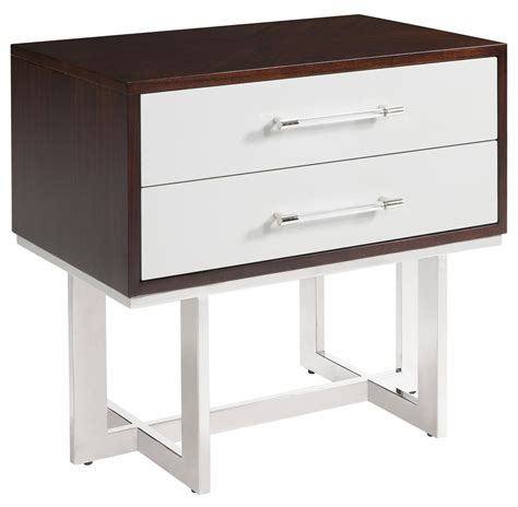 Stainless Steel Nightstand Balmour Modern Classic Espresso Light Grey Wood Steel Nightstand Kathy Kuo Home