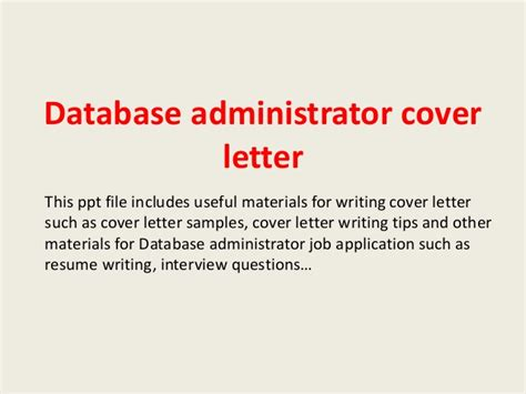 Data Administrator Cover Letter by Database Administrator Cover Letter