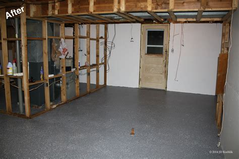 gray color epoxy basement floor paint for basement after remodel and makeover ideas
