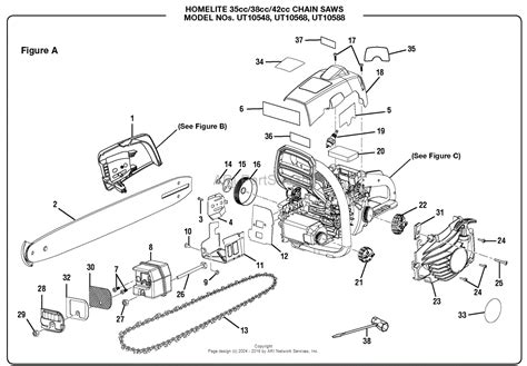 figure parts homelite ut10548 14 in 35cc chain saw parts diagram for