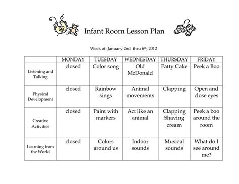 printable infant toddler lesson plans infant room lesson plan week of january 2nd thru 6th 2012