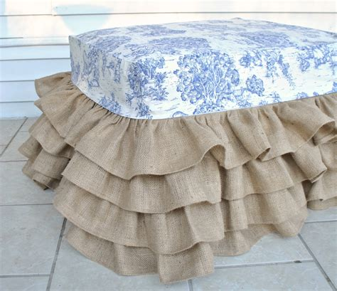 burlap ottoman slipcover burlap ruffled ottoman with blue toile