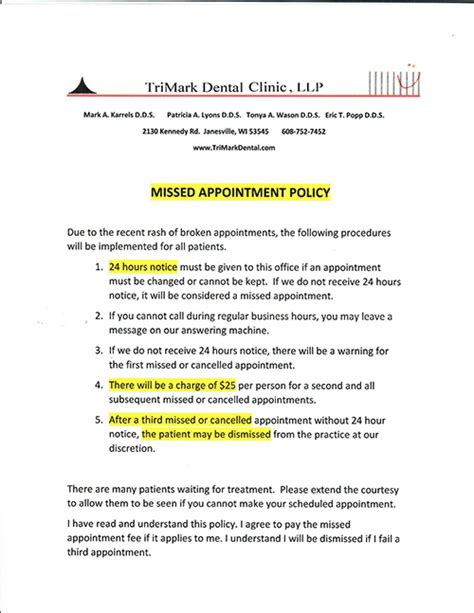 appointment letter policy office policies trimark dental clinic janesville wisconsin