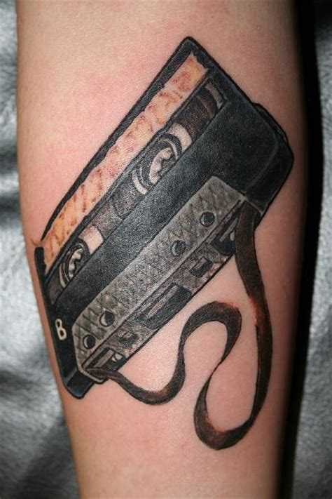 unique black cassette tattoo design by jorden haley