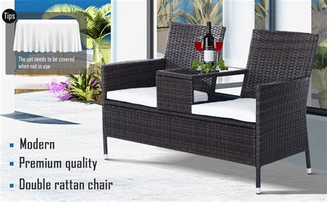 outsunny  seater rattan loveseat campanion chair wicker