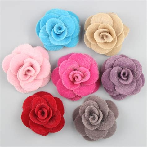 New Headband Bayi Pink Flower mini burlap flowers winter fabric flower rosettes diy