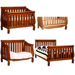 American Crib by Amish Sleigh 4 In 1 Convertible Baby Crib Solid Wood