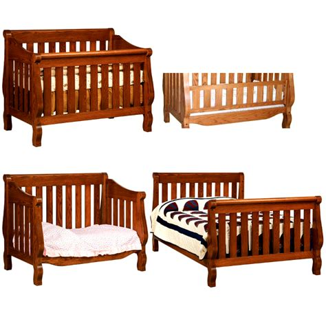 Sleigh Convertible Baby Crib Made In Usa Solid Wood Sleigh Convertible Crib