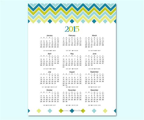printable yearly wall planner 2015 items similar to 2015 yearly calendar printable calendar