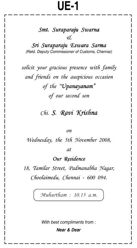Yagnopavit Invitation Card Matter