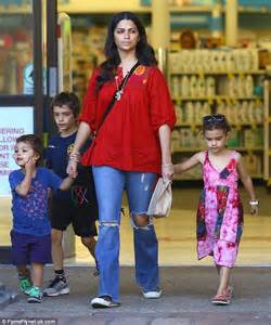 matthew mcconaughey s wife camila alves keeps it casual in a kaftan and torn jeans daily mail