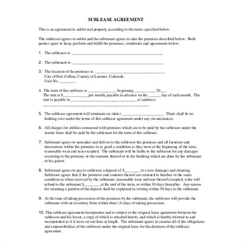 sublet agreement template sublease agreement template 10 free word pdf document