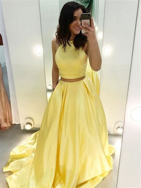 piece yellow satin formal halter long simple dress