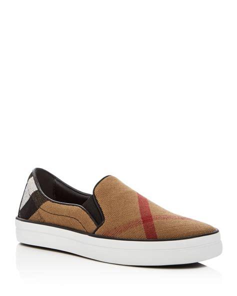 plaid slip on sneakers burberry gauden signature plaid slip on sneakers in brown
