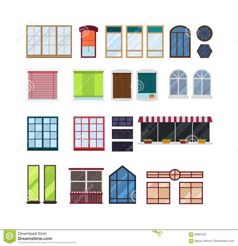 different styles of windows when building a house different types house windows vector elements isolated on white background vector