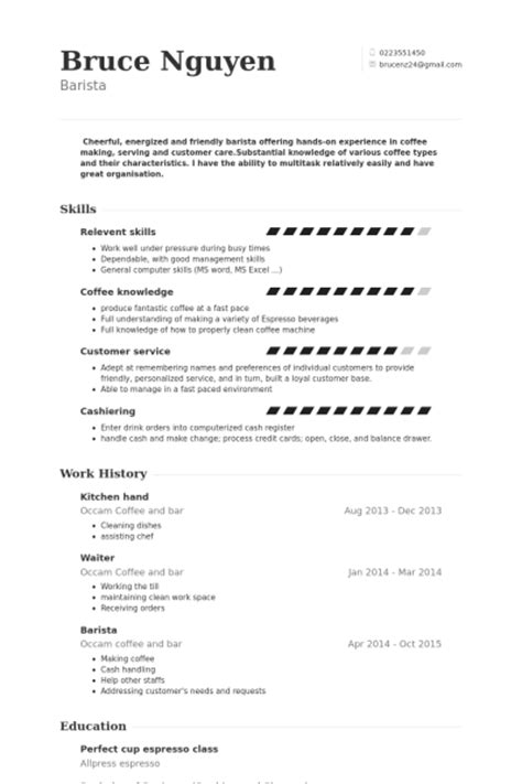 Waitress Resume Examples by Kitchen Hand Resume Samples Visualcv Resume Samples Database