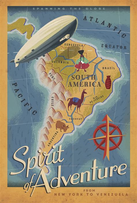 travels with in search of south america books up retro vacation posters