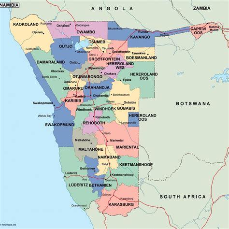 namibia map namibia politische karte