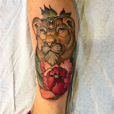 neo traditional tattoo pinterest neo traditional lioness tattoo with peony by ian caroppoli