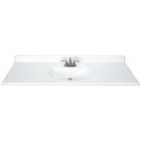 One Vanity Top And Sink by Shop White Cultured Marble Integral Single Sink Bathroom