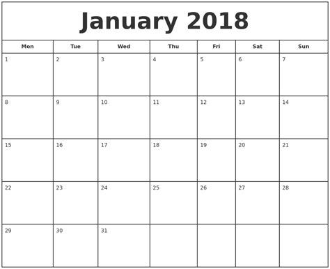 printable calendar for january 2018 january 2018 print free calendar