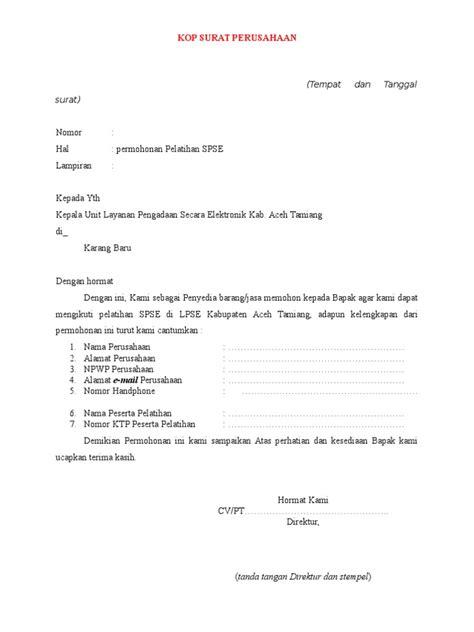 contoh surat permohonan spse