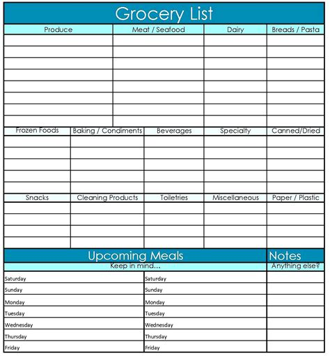 grocery list template excel free printable grocery list template excel word