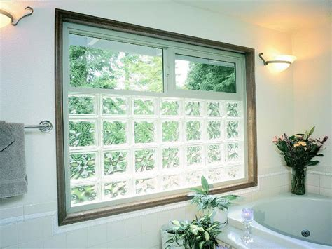 glass block vinyl framed window   operable slider