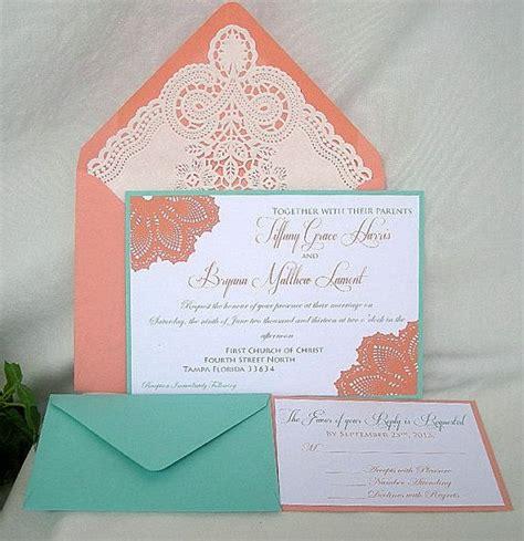 coloured wedding invitations coral n blue wedding invitation w doily lace