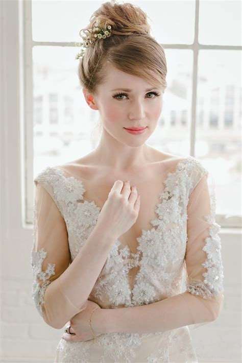 Wedding Hairstyles For Low Back Dresses by Low Back Wedding Dress Illusion Neckline Sleeves