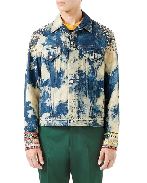 Denim Washed Jacket lyst gucci washed studded denim jacket in blue for