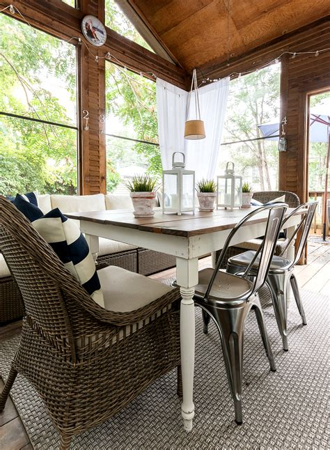 porch table and chairs navy white screen porch it all started with paint
