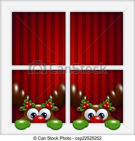 Weihnachtsdeko Fenster Stock by Schauen Fenster Rentiere Weihnachten Karikatur
