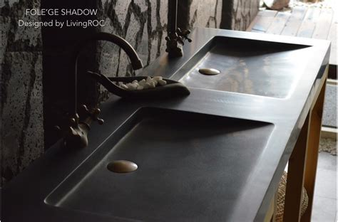 63 quot double black granite trough sink bathroom basins stone folege shadow