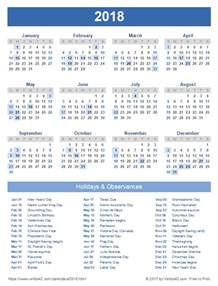 Calendar 2018 With Holidays List 2018 Calendar Templates And Images
