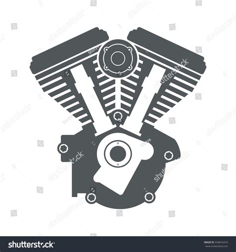 vector motor layout motorcycle engine v twin vector flat stock vector