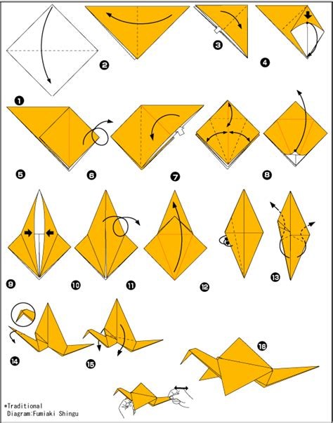 Origami Crane Diagram - origami crane scheme of paper in the