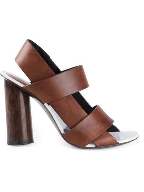 chunky heel sandals proenza schouler chunky heel sandals in brown lyst