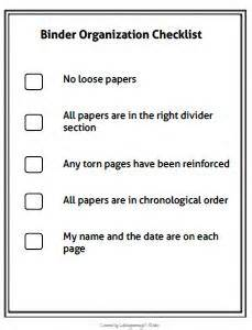 this simple binder organization checklist can be given to
