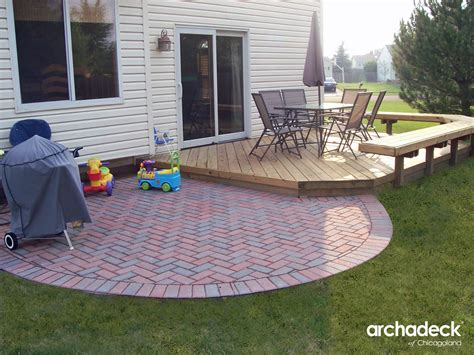 wood deck with brick patio in lake zurich illinois patio