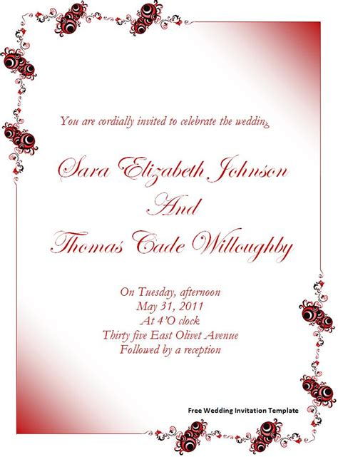 ms word wedding invitation card template formal word templates
