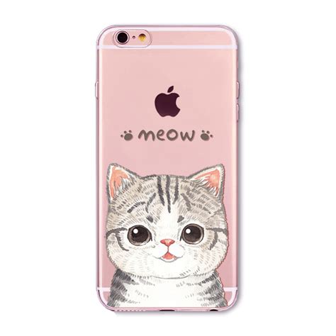 Monochrome Softcase For Iphone 4 5 Se 6 6s 6 lovely cat paitned for iphone 6 6s 5 5s se 4