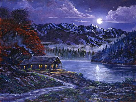 paint nite mountain view moonlit cabin painting by david lloyd