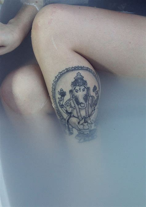 ganesha tattoo on leg hindu god tattoo tumblr