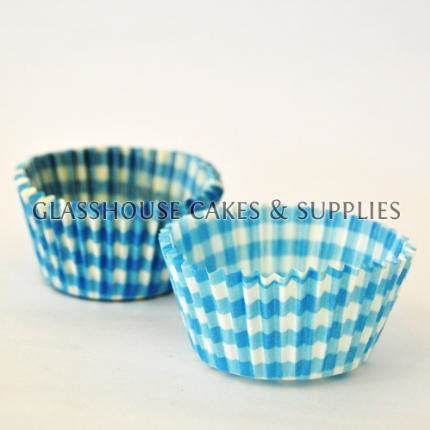 Patty Sees A Blue 50 blue checkered patty cups glasshouse cake supplies