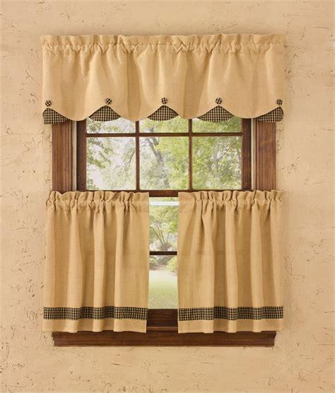 black burlap curtains burlap check lined scallop valance black